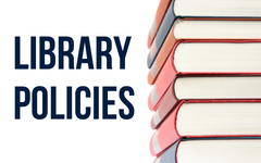 Library Policies with stack of books