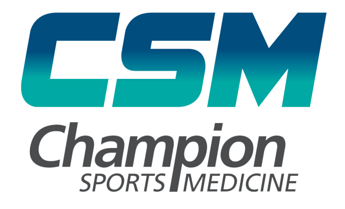 CSM Champion Sports Medicine Blue and Green Logo